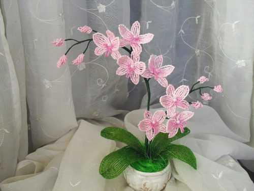 Орхидея из бисера — подробное описание изготовления из бисера красивой орхидеи своими руками