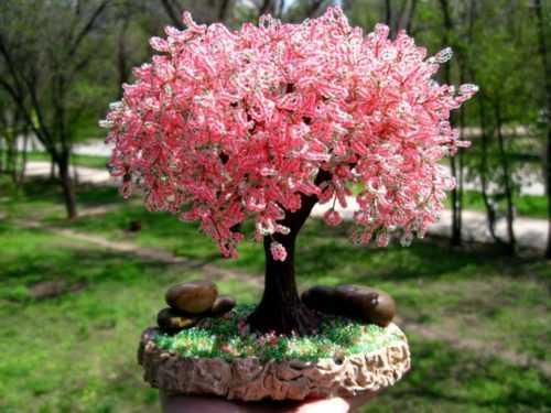 Сакура из бисера — пошаговое описание изготовления красивых японских деревьев своими руками (100 фото)